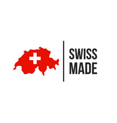 swiss made switzerland map flag seal icon vector image