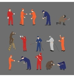 The workers in overalls in different poses vector image
