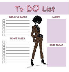 to do list with fashion woman vector image