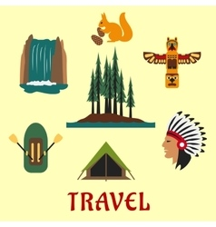 Travel Canadian and American icons vector