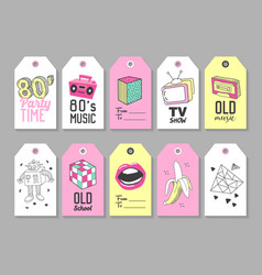 trendy hipster tags with retro fashion elements vector image