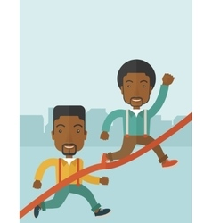 Two african guy running to finish line vector