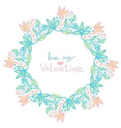 Valentines day decoration Cute floral frame in vector image