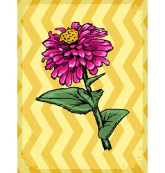 Vintage grunge background with flower vector