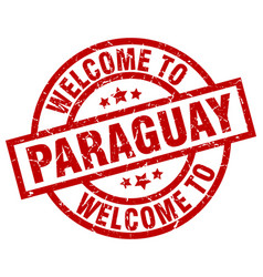 Welcome to paraguay red stamp vector