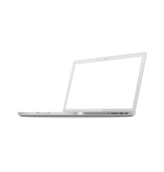 white laptop screen mockup from side view vector image