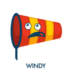 Windy day symbol in shape of nettle with confused vector