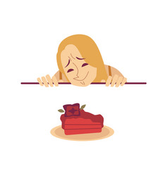 Woman is looking at desired cake from under the vector