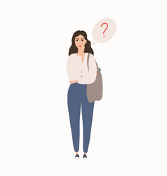 Woman is thinking about something cartoon vector