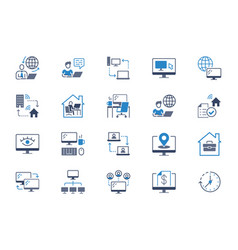 work from home flat icons vector image