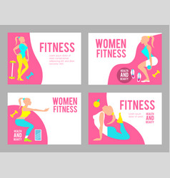 workout fitness girl design template set heathy vector image