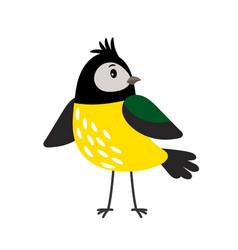 Yellow cartoon tit bird vector