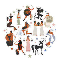 Zodiac signs style mythology of ancient greece vector
