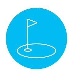 Golf hole with flag line icon vector