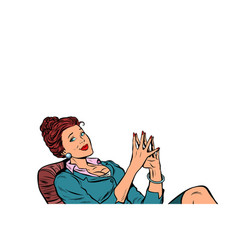 businesswoman sitting at the table relaxed vector image