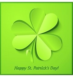 Green paper clover Patricks Day greeting card vector image vector image