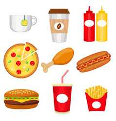 junk food colorful logo collection poster vector image