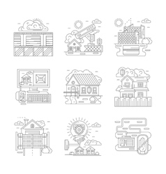 Security facilities detailed line icons set vector image vector image