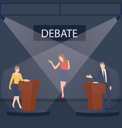 two politician debate on stage podium public vector image vector image