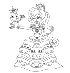 beautiful young princess and big frog vector image