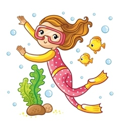 Girl swimming under water with fish vector image