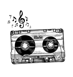 Hand-drawn cassette music Sketch audio tape vector image