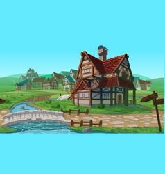 horizontal seamless background - village vector image vector image