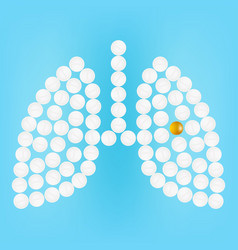 human lungs with pills isolated on a background vector image