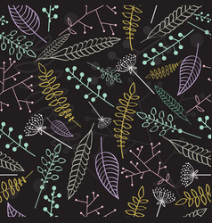 seamless pattern with linear leaves and branches vector image vector image