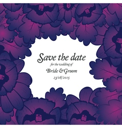 Wedding invitation with purple flowers vector image vector image