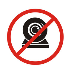 a not allowed icon with a webcam no webcam icon vector image