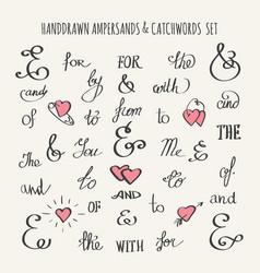 Ampersands and catchwords set vector