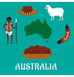 Australian conceptual travel icons and landmarks vector image vector image