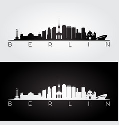berlin skyline and landmarks silhouette vector image