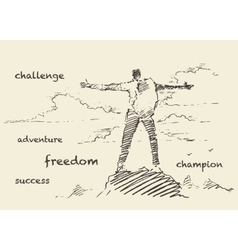 Drawn successful climber mountain sketch vector image