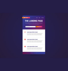 landing page design in modern gradient style vector image