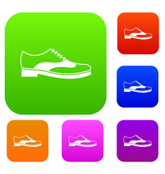 men shoe with lace set collection vector image