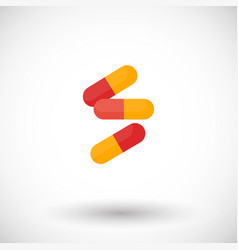 pills flat icon vector image vector image