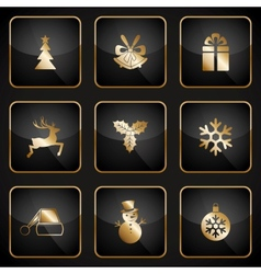 Set of black and gold web buttons for Christmas vector image vector image
