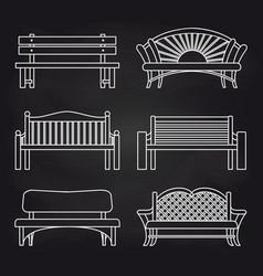 white bench line design on blackboard vector image
