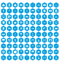 100 architecture icons set blue vector image