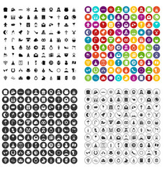 100 religious festival icons set variant vector image