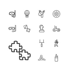 13 leisure icons vector