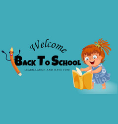 back to school horizontal banner logo with vector image