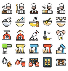 Bakery and baking related filled icon set vector