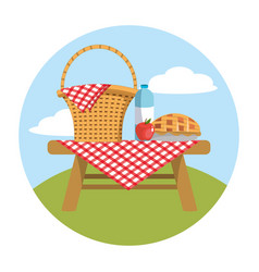 Basket in the table with water bottle and apple vector