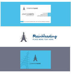 beautiful eiffel tower logo and business card vector image