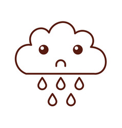 Beautiful fantasy cloud with rain drops kawaii vector
