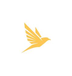 bird fly logo yellow color vector image
