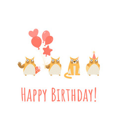 birthday greeting card with cute owls and cat vector image